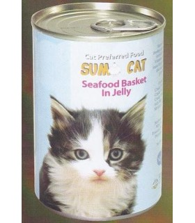 Sumo Cat Seafood Basket in Jelly 400g