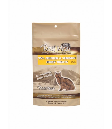 Real Meat Chicken & Venison Jerky for Cat 3oz