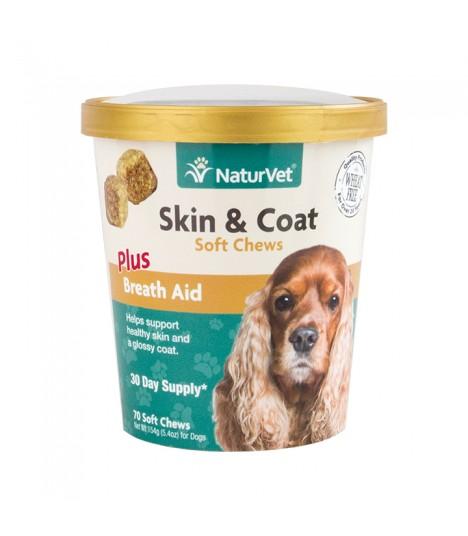 NaturVet Skin & Coat Plus Breath Aid Soft Chews