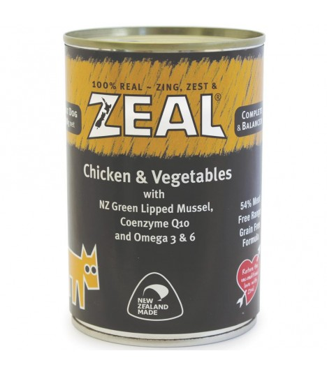 Zeal Grain Free Chicken & Vegetables Canned Food for Dog 390g