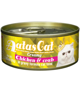 Aatas Creamy Chicken & Crab In Gravy Canned Cat Food 80g x 24