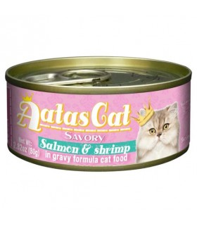 Aatas Savory Salmon & Shrimp In Gravy Canned Cat Food 80g x 24