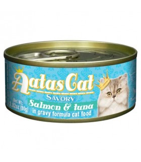 Aatas Savory Salmon & Tuna In Gravy Canned Cat Food 80g x 24