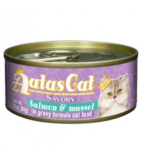Aatas Savory Salmon & Mussel In Gravy Canned Cat Food 80g x 24