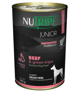 Nutripe Junior Beef with Green Tripe Dog Canned Food 390g x 24
