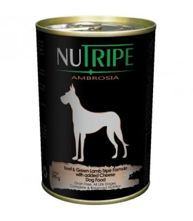 Nutripe Ambrosia Beef with Green Tripe Dog Canned Food 390g x 24