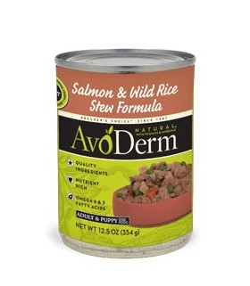 AvoDerm Salmon & Wild Rice Stew Canned 12.5oz-10 cans