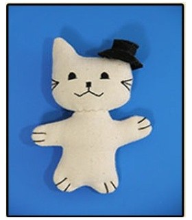 Soft cotton toy cat with hat