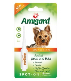 Amigard Natural & Non-Toxic Flea & Ticks Spot On for Dogs Up to 15kg 2ml