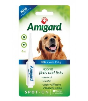 Amigard Natural & Non-Toxic Flea & Ticks Spot On for Dogs Over 15kg 4ml