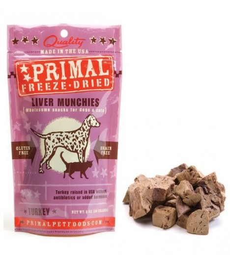 Primal Freeze-Dried Turkey Liver Munchies Treats for Cats & Dogs 2oz