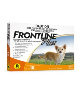Frontline Plus for Small Dogs up to 10kg (6 tubes)