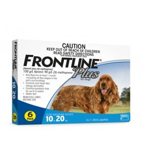 Frontline Plus for Medium Dogs 10 - 20kg (6 tubes)