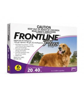 Frontline Plus for Large Dogs 20 - 40kg (6 tubes)