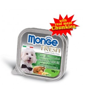 MONGE FRESH - Chicken & Vegetables Pâté with Chunkies 100g x 32 Trays
