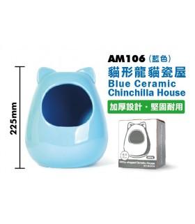 Pet Link Kitty Shaped Ceramic Chinchilla House - Blue
