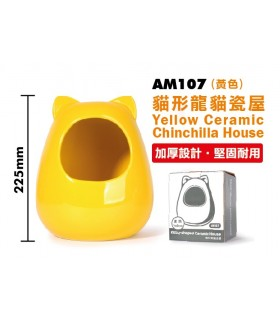 Pet Link Kitty Shaped Ceramic Chinchilla House - Yellow