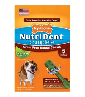 Nylabone - Nutri Dent Complete Peanut Butter (Grain Free) - 5ct