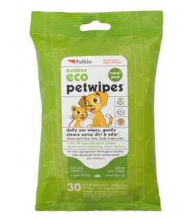 Petkin - Bamboo Eco Pet Wipes Travel Pack (30 ct)