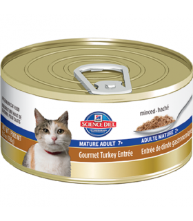 Science Diet Mature Adult Feline Gourmet Turkey Entree Minced 5.5oz X 24cans