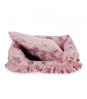 Shabby Chic Bolster Bed Pink Medium