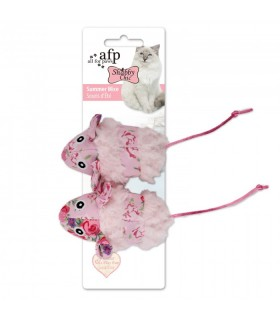 AFP Shabby Chic Cat Summer Mice 2pk Pink