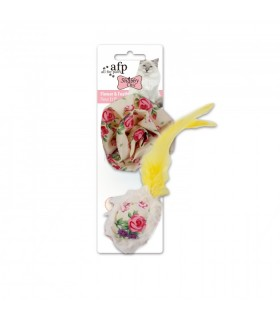 AFP Shabby Chic Cat Flower & Feather Ball Yellow