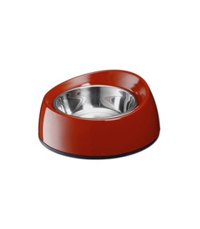 Marukan Melamin Dog Feeder Bouno Bouno Shallow Red