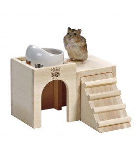 Marukan Hamster Wooden House Dish Table