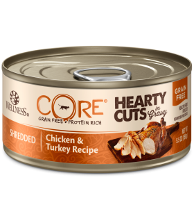 Wellness CORE Hearty Cuts in Gravy Shredded Chicken & Turkey for Cat 5.5oz